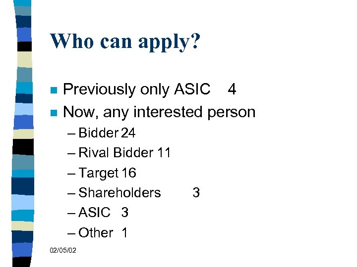 Who can apply? n n Previously only ASIC 4 Now, any interested person –