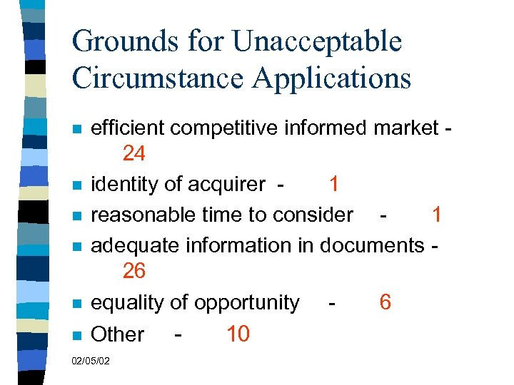 Grounds for Unacceptable Circumstance Applications n efficient competitive informed market 24 identity of acquirer