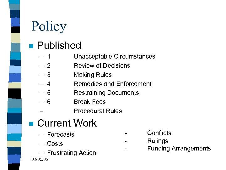 Policy n Published – – – – n 1 2 3 4 5 6