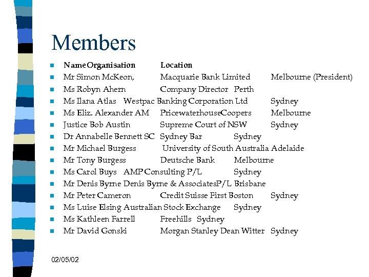 Members n n n n Name. Organisation Location Mr Simon Mc. Keon, Macquarie Bank