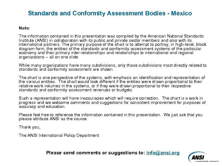 Standards and Conformity Assessment Bodies - Mexico Note: The information contained in this presentation