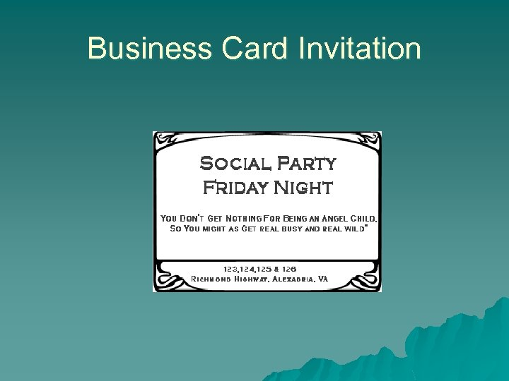 Business Card Invitation