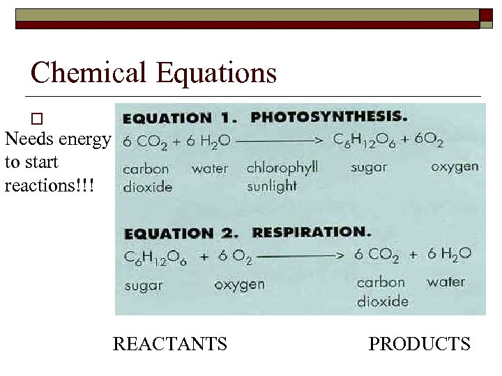 Chemical Equations o Needs energy to start reactions!!! REACTANTS PRODUCTS