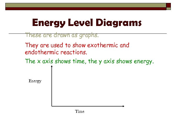 Energy Level Diagrams These are drawn as graphs. They are used to show exothermic