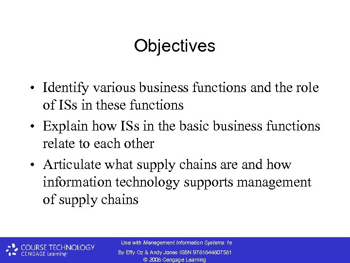 Objectives • Identify various business functions and the role of ISs in these functions