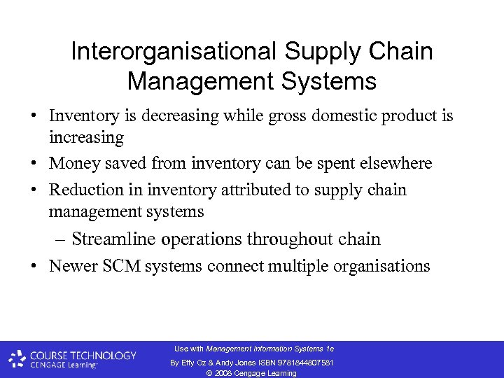 Interorganisational Supply Chain Management Systems • Inventory is decreasing while gross domestic product is