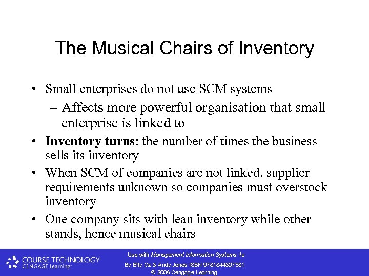 The Musical Chairs of Inventory • Small enterprises do not use SCM systems –