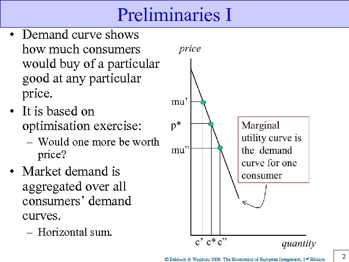 Preliminaries I • Demand curve shows how much consumers would buy of a particular