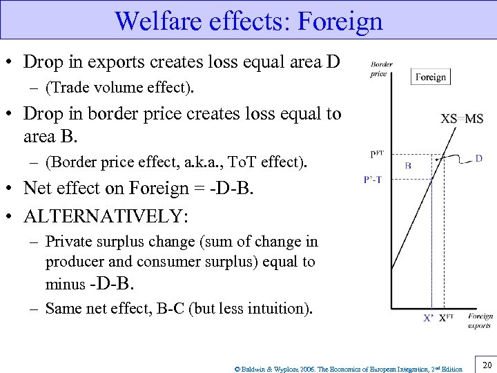Welfare effects: Foreign • Drop in exports creates loss equal area D – (Trade