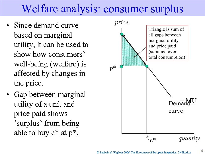 Welfare analysis: consumer surplus • Since demand curve based on marginal utility, it can