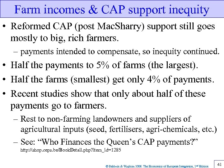 Farm incomes & CAP support inequity • Reformed CAP (post Mac. Sharry) support still