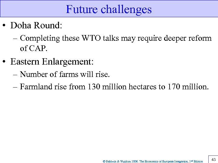 Future challenges • Doha Round: – Completing these WTO talks may require deeper reform