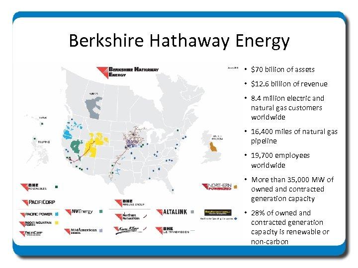 Berkshire Hathaway Energy • $70 billion of assets • $12. 6 billion of revenue