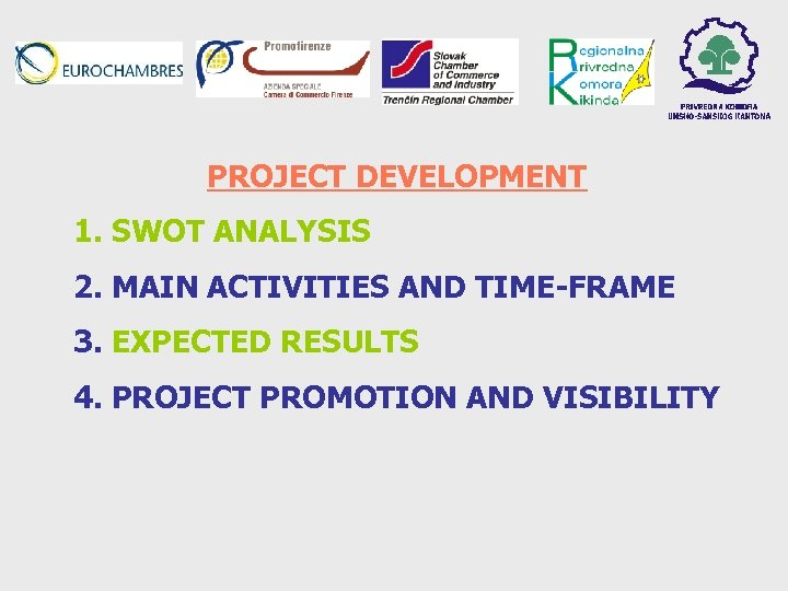 PROJECT DEVELOPMENT 1. SWOT ANALYSIS 2. MAIN ACTIVITIES AND TIME-FRAME 3. EXPECTED RESULTS 4.