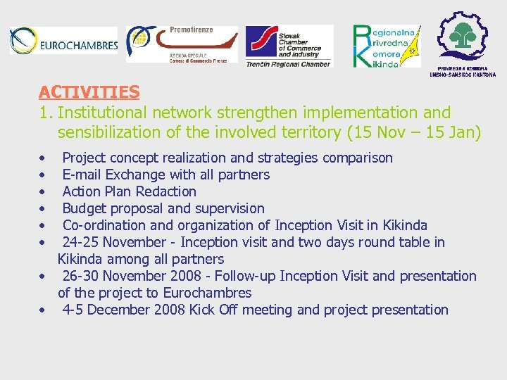 ACTIVITIES 1. Institutional network strengthen implementation and sensibilization of the involved territory (15 Nov