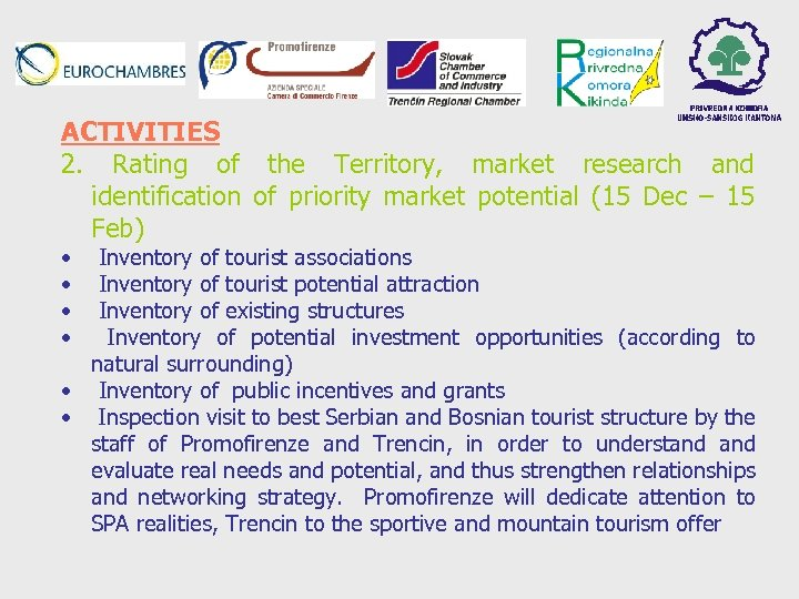 ACTIVITIES 2. Rating of the Territory, market research and identification of priority market potential