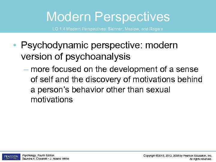 Modern Perspectives LO 1. 4 Modern Perspectives: Skinner, Maslow, and Rogers • Psychodynamic perspective: