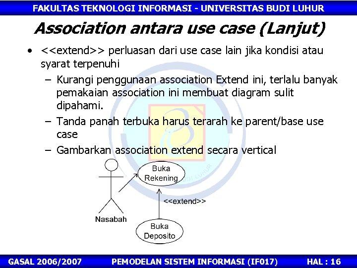 FAKULTAS TEKNOLOGI INFORMASI - UNIVERSITAS BUDI LUHUR Association antara use case (Lanjut) • <<extend>>