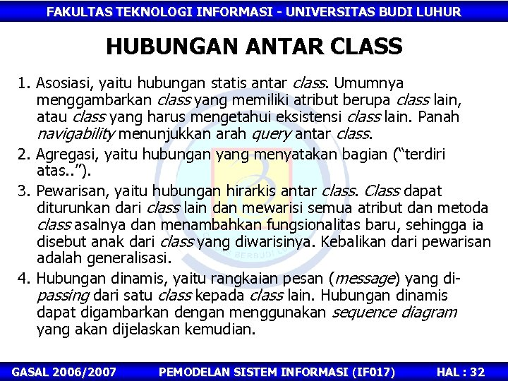FAKULTAS TEKNOLOGI INFORMASI - UNIVERSITAS BUDI LUHUR HUBUNGAN ANTAR CLASS 1. Asosiasi, yaitu hubungan