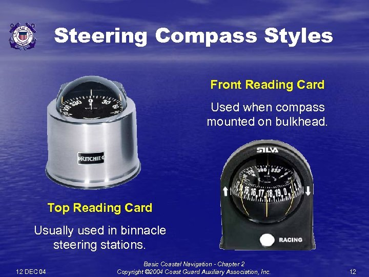 Steering Compass Styles Front Reading Card Used when compass mounted on bulkhead. Top Reading