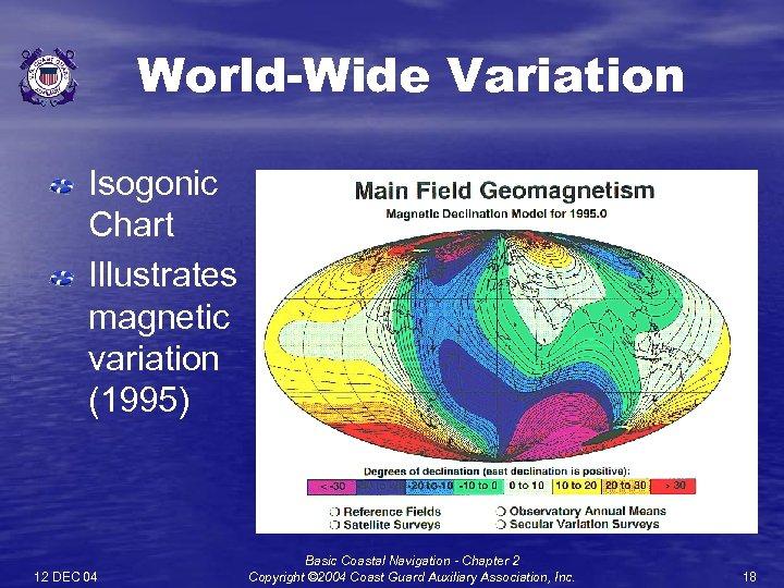 World-Wide Variation Isogonic Chart Illustrates magnetic variation (1995) 12 DEC 04 Basic Coastal Navigation