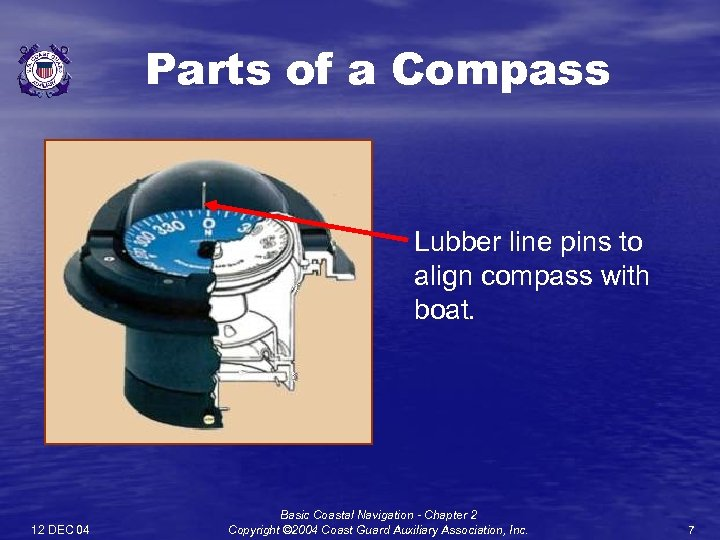 Parts of a Compass Lubber line pins to align compass with boat. 12 DEC