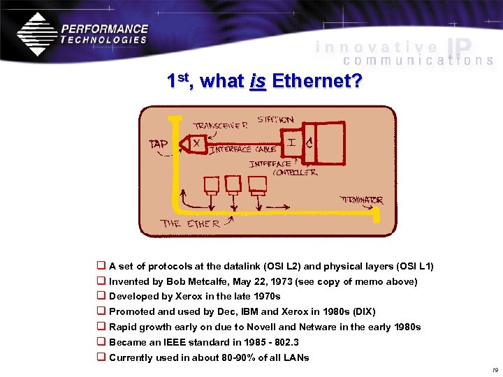 1 st, what is Ethernet? q A set of protocols at the datalink (OSI