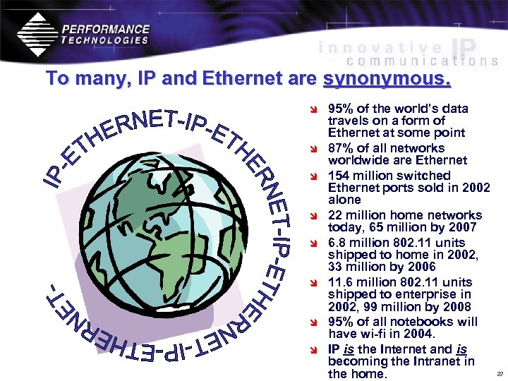To many, IP and Ethernet are synonymous. î î î î 95% of the