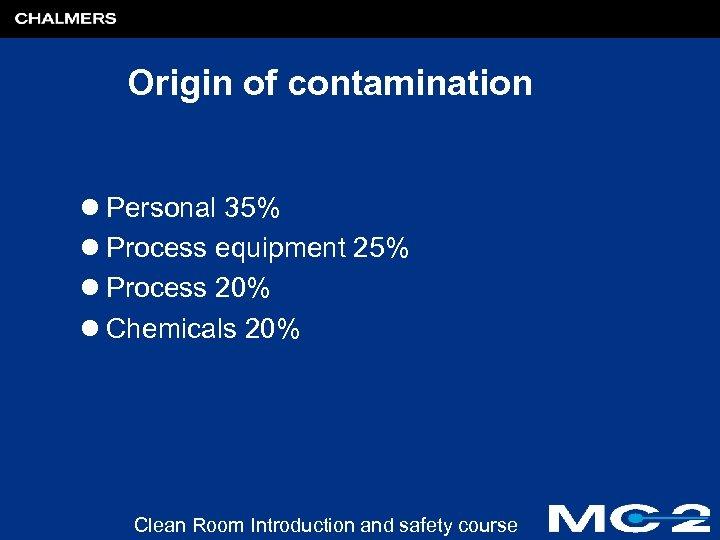 Origin of contamination l Personal 35% l Process equipment 25% l Process 20% l