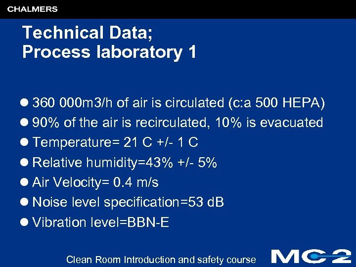 Technical Data; Process laboratory 1 l 360 000 m 3/h of air is circulated