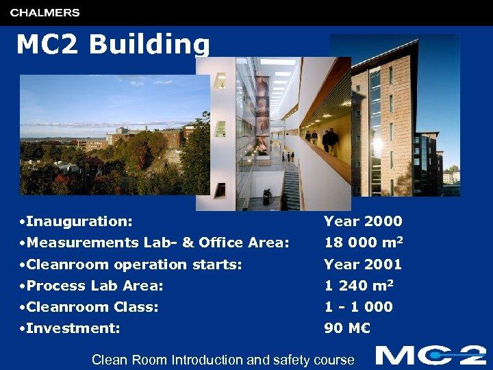 MC 2 Building • Inauguration: Year 2000 • Measurements Lab- & Office Area: 18