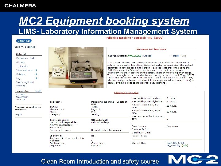 MC 2 Equipment booking system LIMS- Laboratory Information Management System Clean Room Introduction and