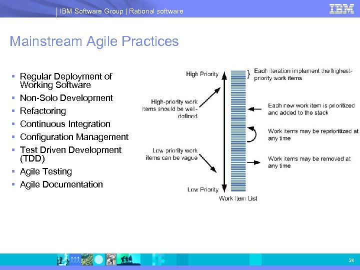 IBM Software Group | Rational software Mainstream Agile Practices § Regular Deployment of Working