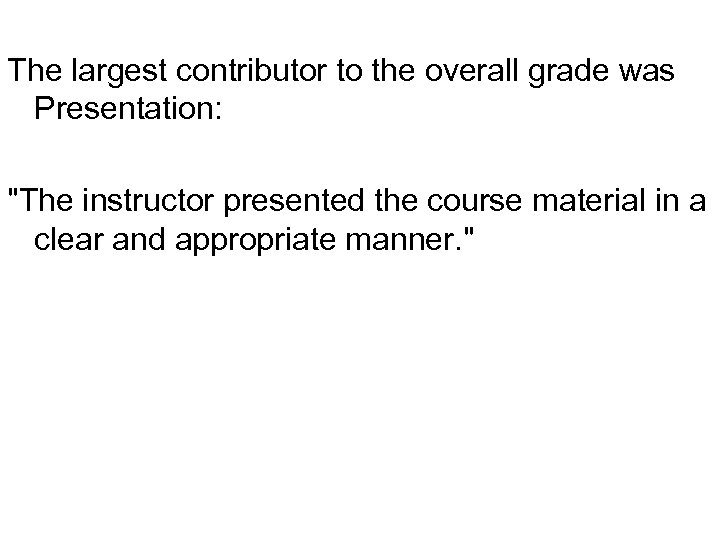 The largest contributor to the overall grade was Presentation: