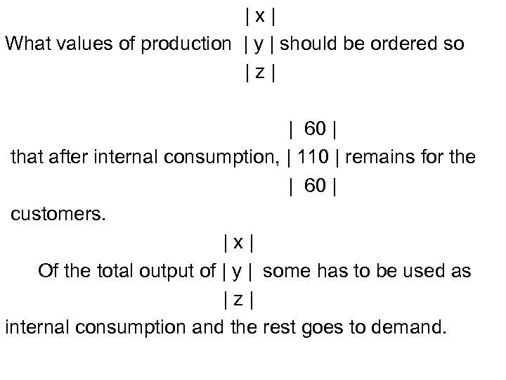 |x| What values of production | y | should be ordered so |z| |