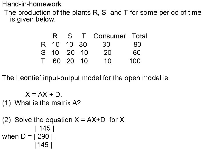 Hand-in-homework The production of the plants R, S, and T for some period of