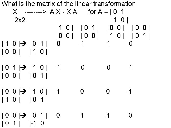 What is the matrix of the linear transformation X ----> A X - X