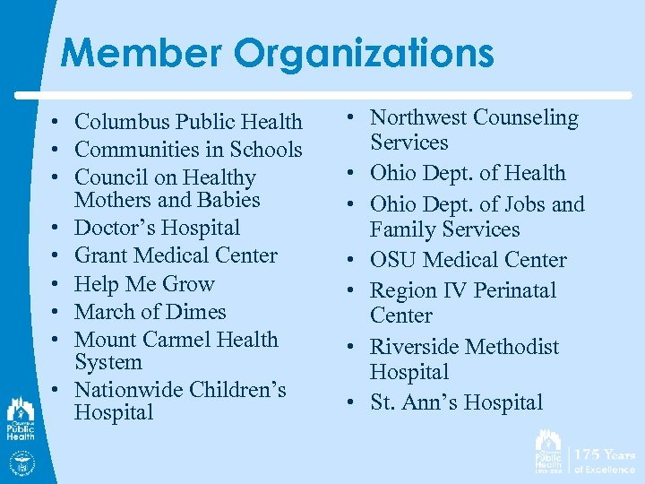 Member Organizations • Columbus Public Health • Communities in Schools • Council on Healthy