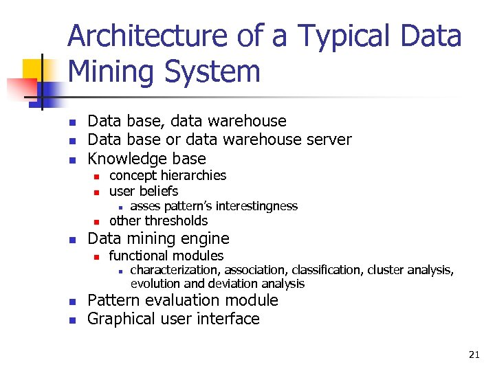 Architecture of a Typical Data Mining System n n n Data base, data warehouse