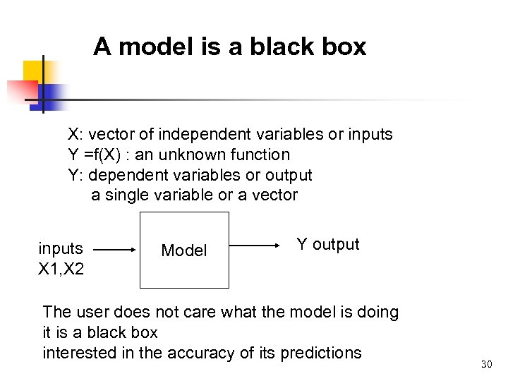 A model is a black box X: vector of independent variables or inputs Y