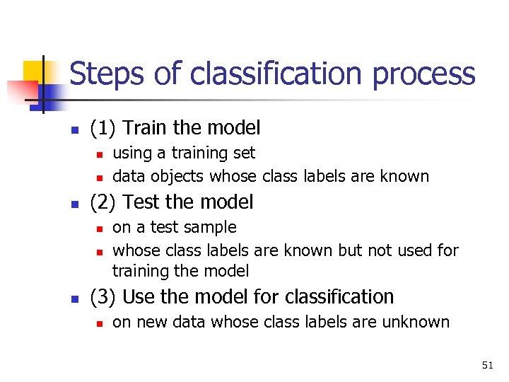 Steps of classification process n (1) Train the model n n n (2) Test