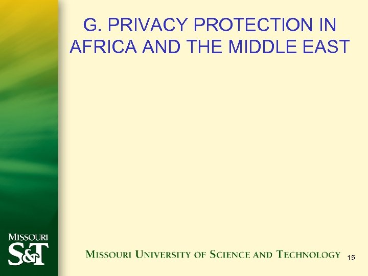 G. PRIVACY PROTECTION IN AFRICA AND THE MIDDLE EAST 15