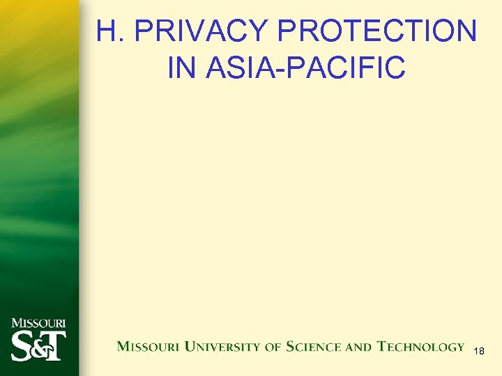 H. PRIVACY PROTECTION IN ASIA-PACIFIC 18