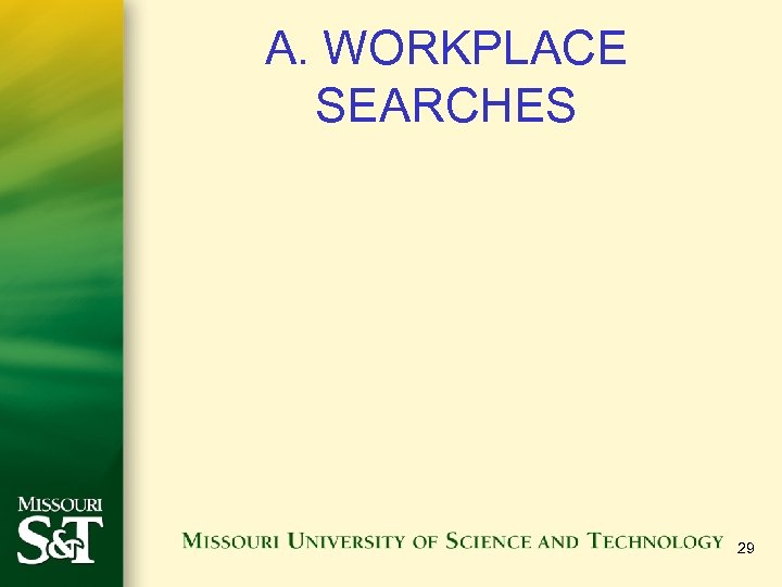 A. WORKPLACE SEARCHES 29