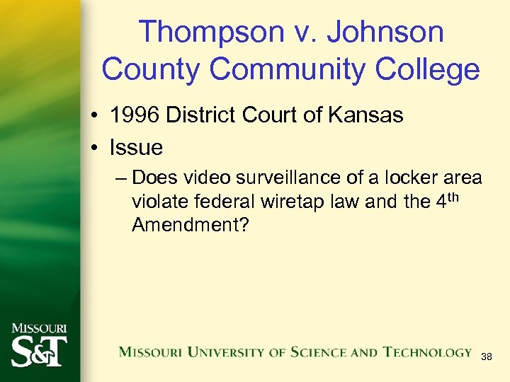 Thompson v. Johnson County Community College • 1996 District Court of Kansas • Issue