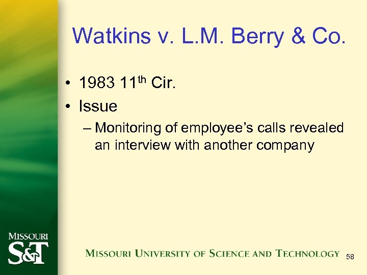 Watkins v. L. M. Berry & Co. • 1983 11 th Cir. • Issue