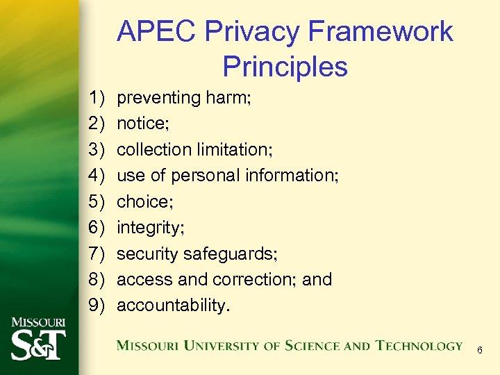 APEC Privacy Framework Principles 1) 2) 3) 4) 5) 6) 7) 8) 9) preventing