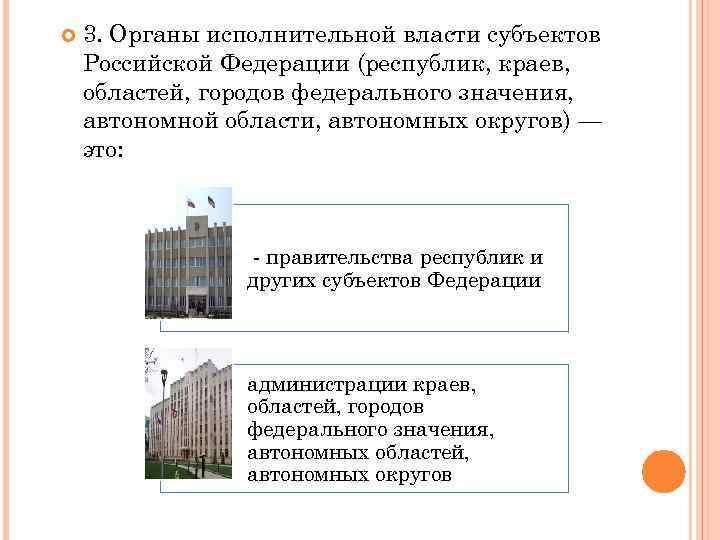 3. Органы исполнительной власти субъектов Российской Федерации (республик, краев, областей, городов федерального значения,