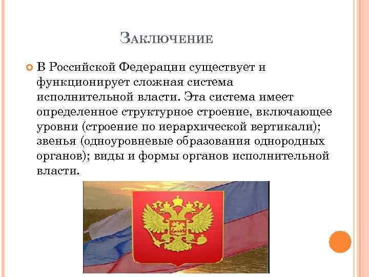 ЗАКЛЮЧЕНИЕ В Российской Федерации существует и функционирует сложная система исполнительной власти. Эта система имеет