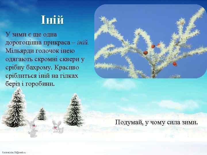 Іній У зими є ще одна дорогоцінна прикраса – іній. Мільярди голочок інею одягають